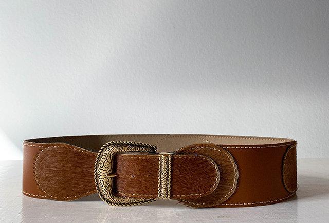 ceinture large cuir vachette vintage france