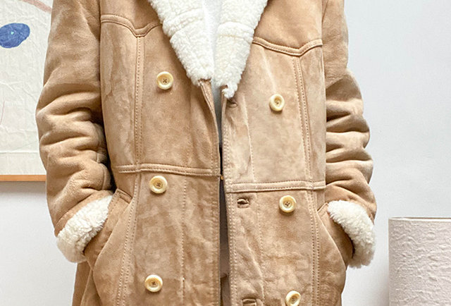 veste longue shearling vintage 70 | Hier Store