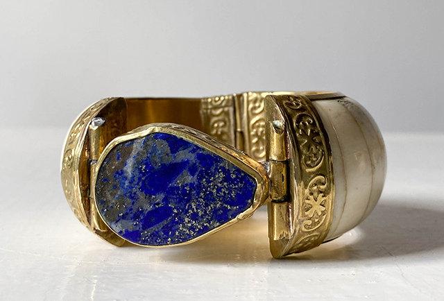 ancien bracelet ethnique ivoire lapis lazuli vintage   hier store