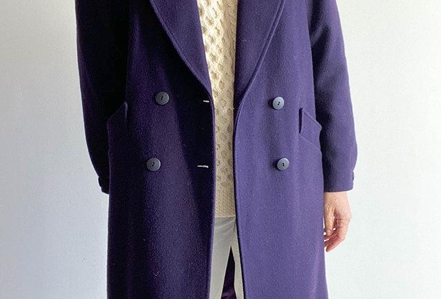 manteau violet laine vintage | Hier Store