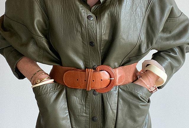 blouson femme vintage cuir vert   Hier Store