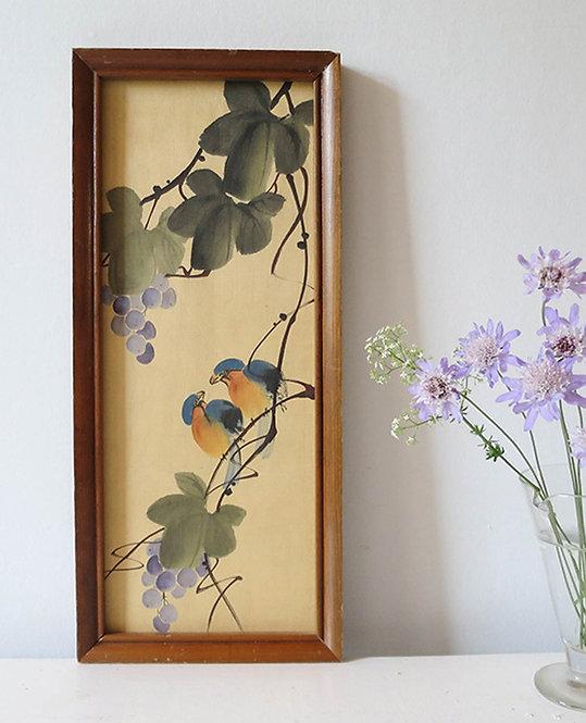 cadre peinture sur soie vintage oiseaux