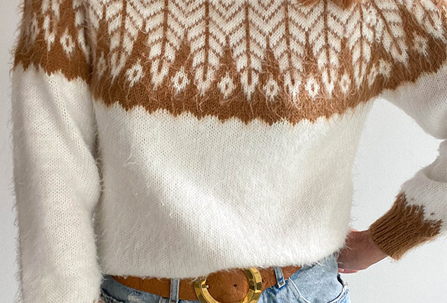pull mohair tricote main jacquard | Hier Store