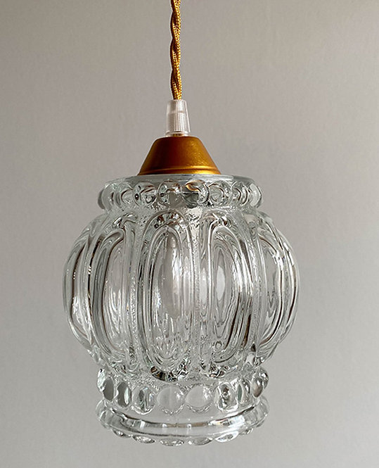 suspension globe verre vintage années 70   lovmint
