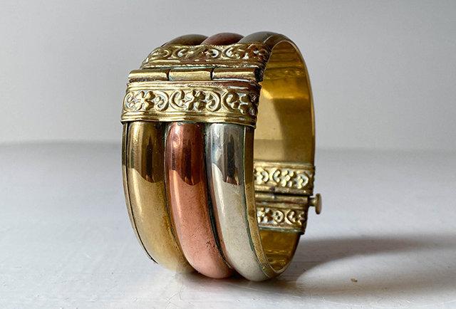 bracelet manchette vintage laiton cuivre | hier store