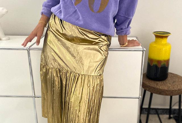 jupe vintage 80 jupe lame | Hier store
