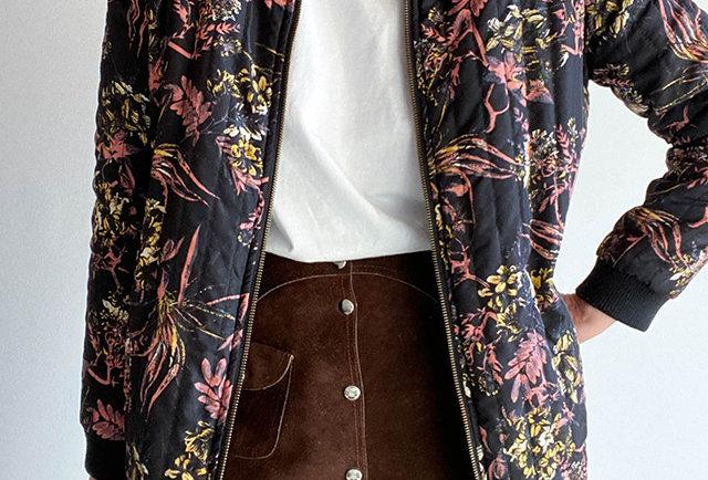veste matelassée vintage imprime fleuri | Hier Store