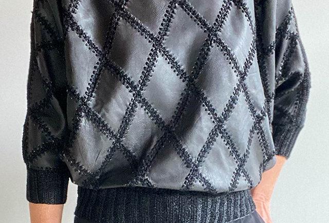 pull cuir noir vintage