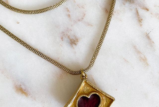 pendentif coeur Yves Saint Laurent vintage 80