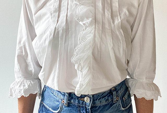 blouse autrichienne vintage, col grand