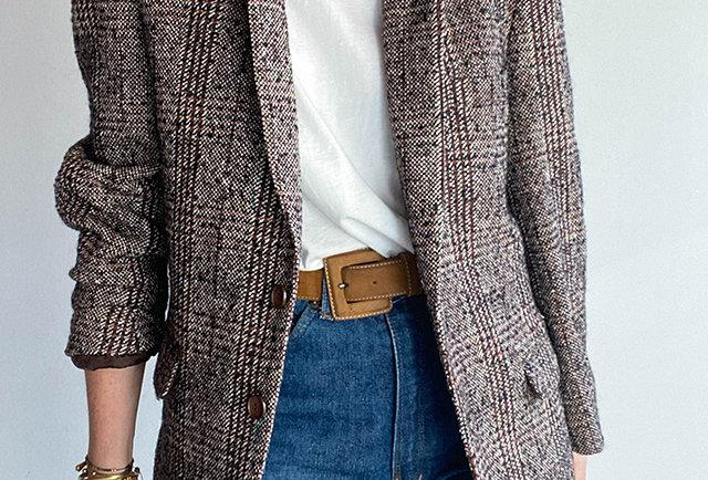 blazer carreaux vintage france