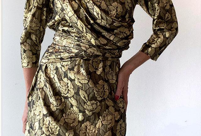 robe vintage drapee doree | hier store