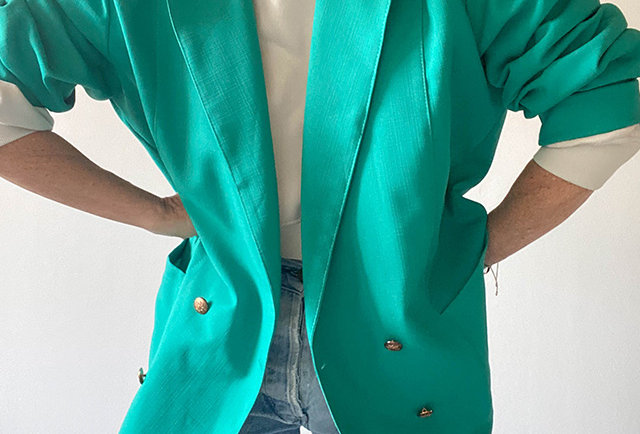 blazer vert coupe xxl vintage 1980