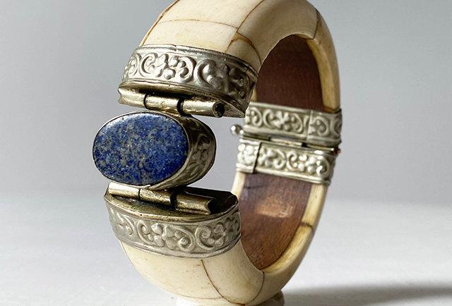 ancien bracelet os cabochon lapis lazuli