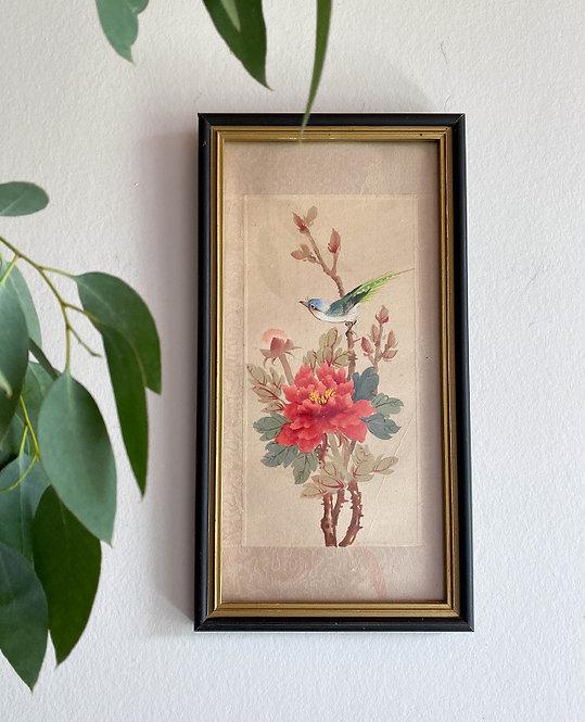 cadre japonisant peinture sur soie oiseau