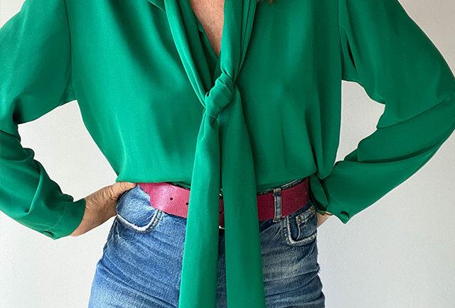 chemise fluide verte col lavallière vintage    Hier store