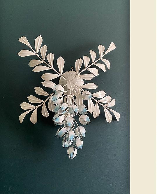 grande applique metal fleur glycine vintage