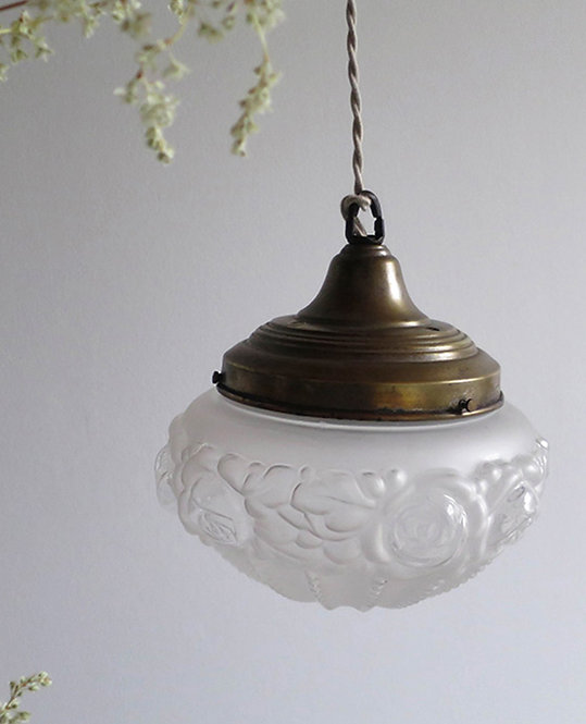 suspension globe verre fleur art deco