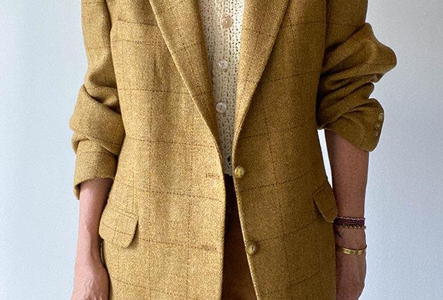 veste homme oversize carreaux safran   vintage France