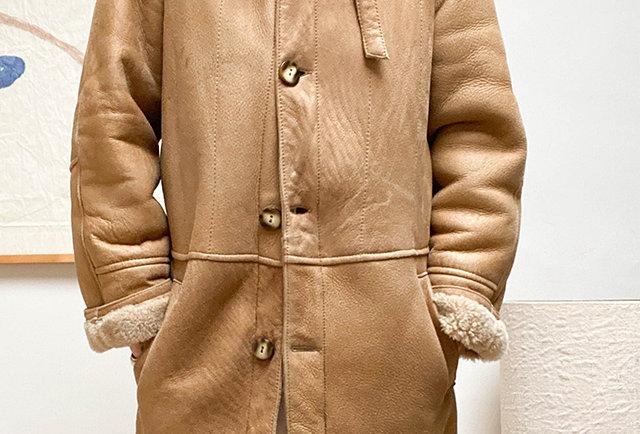 veste peau lainée vintage   Hier Store