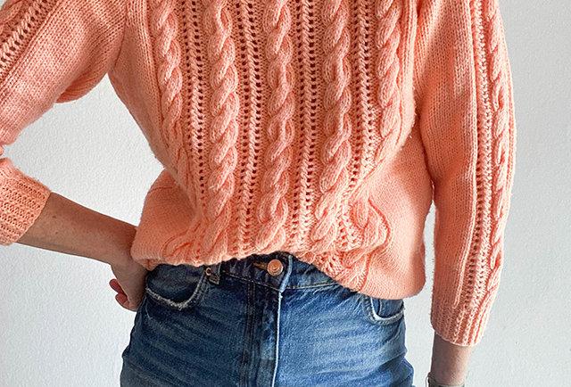 pull tricote main couleur corail   vintage femme