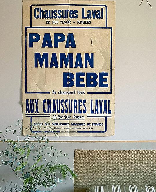 affiche ancienne écrit maman papa bebe