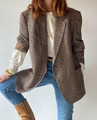 veste manteau carreaux beige vintage France.jpg