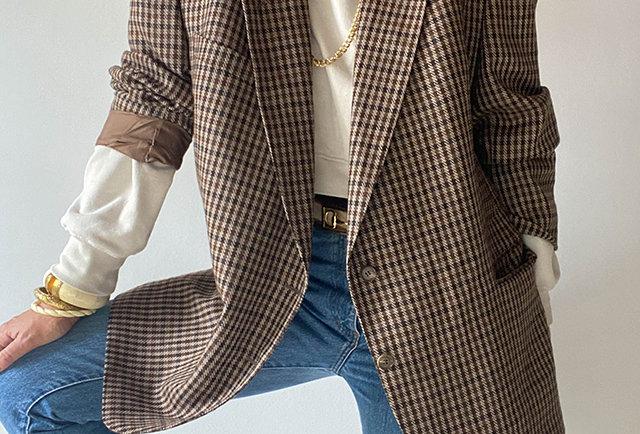 veste tweed à carreaux vintage | Hier Store