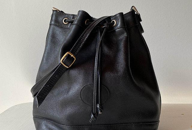 sac en cuir forme seau | vintage
