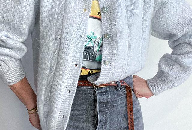 gilet en laine mohair tricoté main