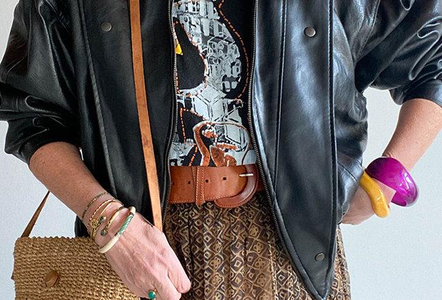 blouson cuir noir rock vintage 80 | Hier Store