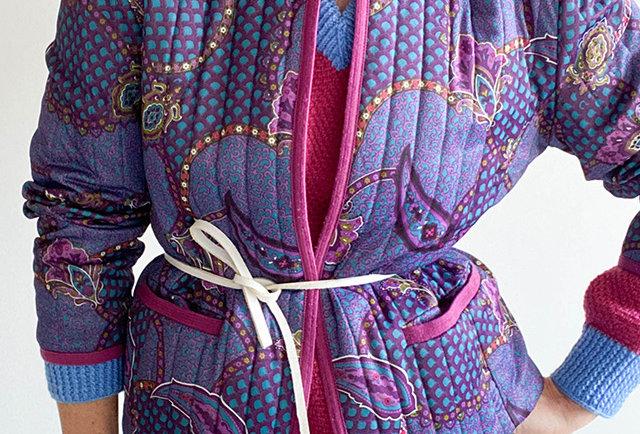 veste matelassée mauve motifs cachemire