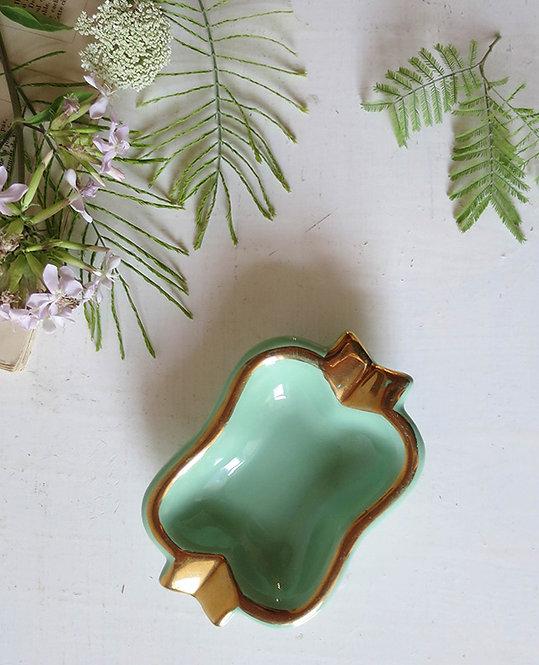 ancien cendrier vert mint or