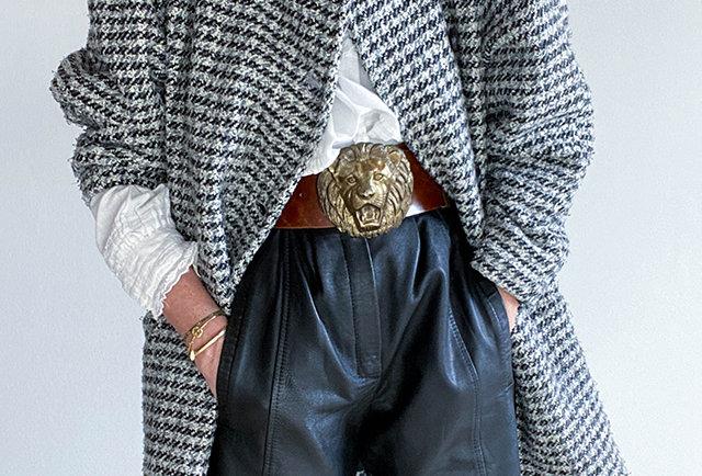 manteau pied de poule laine vintage