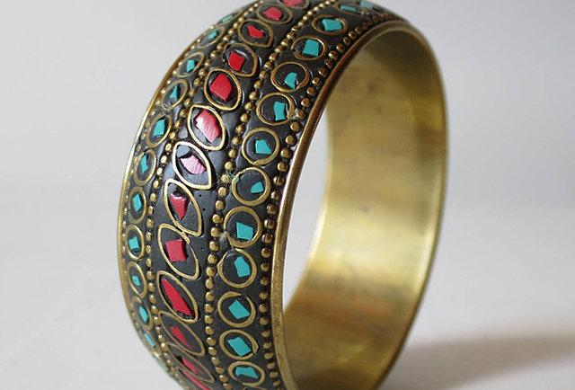 bracelet laiton turquoise vintage