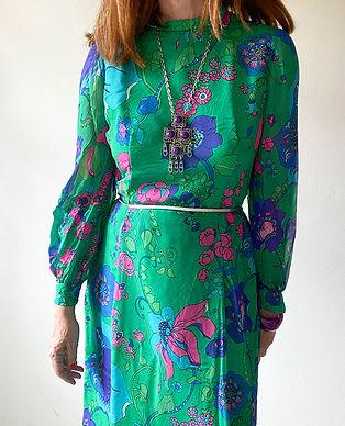 robe longue soie verte vintage hier store.jpg