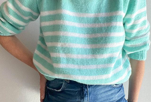 pull mariniere tricote main vintage France