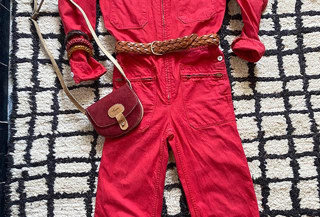 combi travail vintage femmes couleur rouge