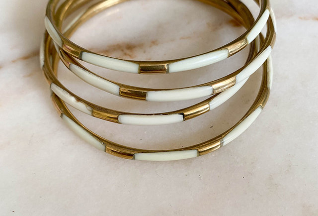 bracelets joncs laiton ivoire vintage