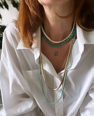 collier sautoir perles turquoises vintag
