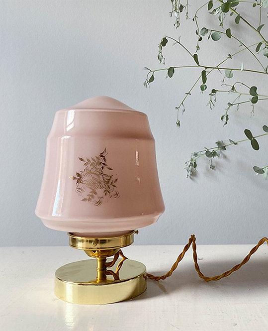 lampe globe vintage opaline rose dore