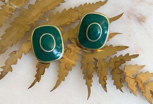 boucles d'oreilles clip vintage   vert et dore