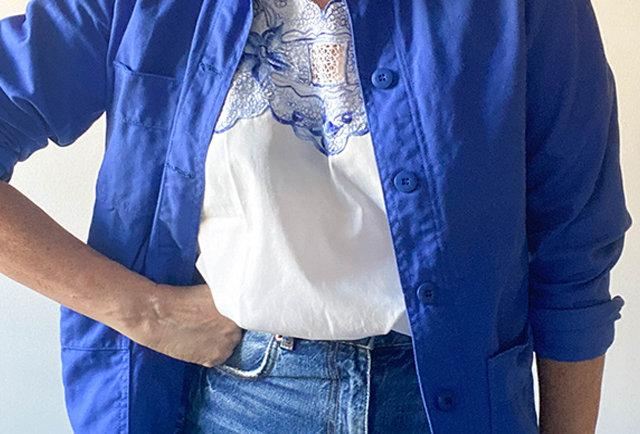veste femme bleu travail vintage   sanfor france