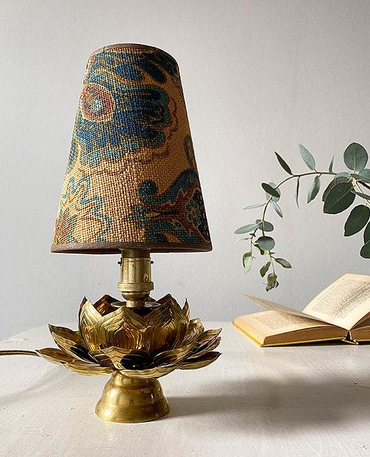 lampe chevet fleurs laiton vintage