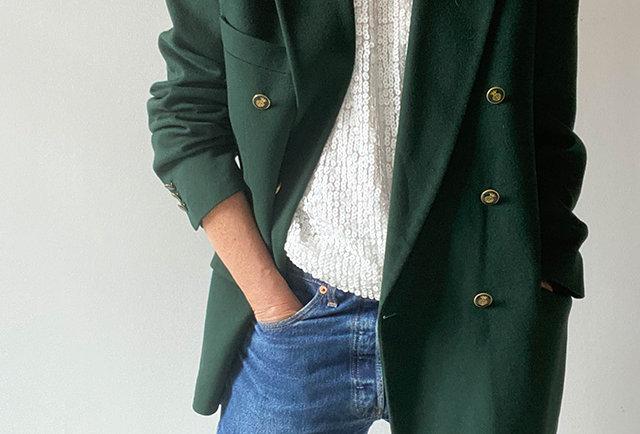 veste blazer vintage en laine vert anglais | hier store