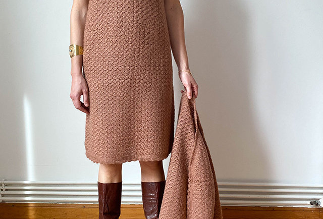 robe pull tricote main vintage | Hier store