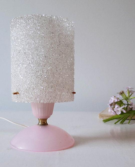 lampe vintage perspex rose pale