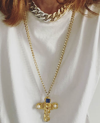collier croix dore vintage style yves sa