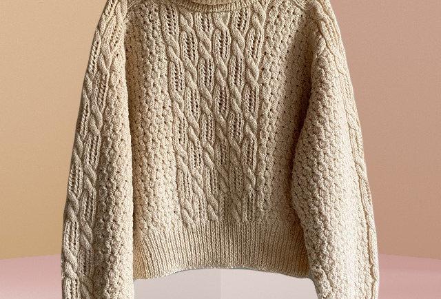 pull irlandais tricote main   Hier Store