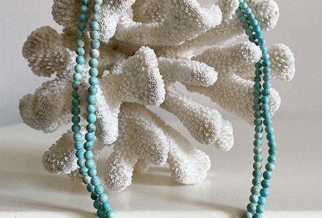 collier sautoir turquoises vintage